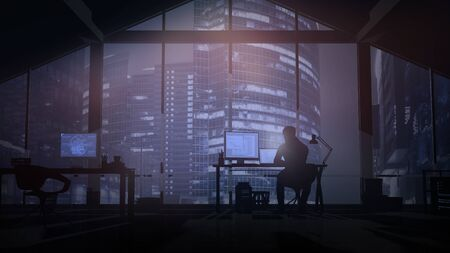 Web programmer on the background windows overlooking evening skyscrapers.