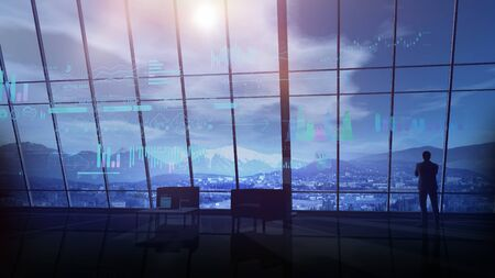 In a dark office, against the window, a businessman and virtual infographics. Stock Photo