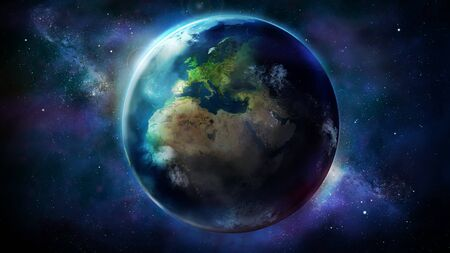 The day half of the Earth from space showing Africa, Europe and Asia 免版税图像