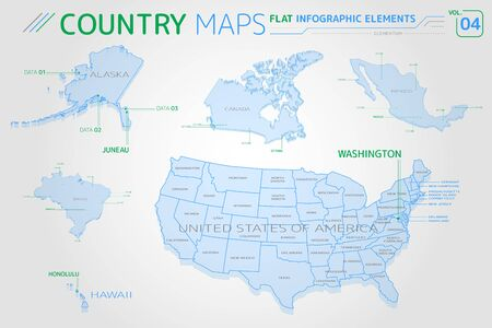 United States of America, Alaska, Hawaii, Mexico, Canada and Brazil Vector Maps