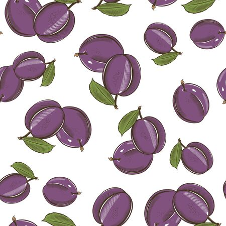 Colored seamless pattern with plums in vintage style Vetores