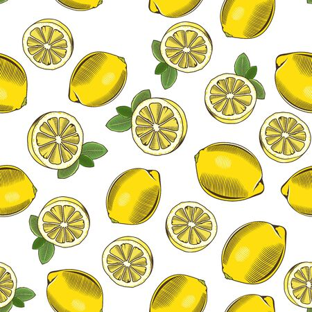 Colored seamless pattern with lemons in vintage style