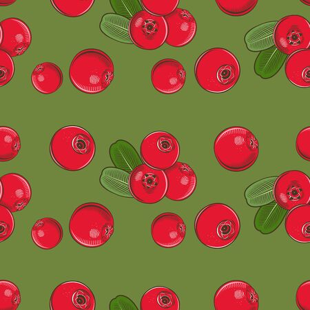 Seamless pattern with cowberries on a green background in vintage style