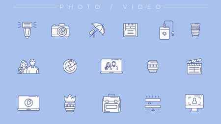 Photo and Video icons. Line style vector set Stock Illustratie