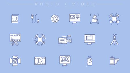 Photo and Video icons. Line style vector set Ilustracja