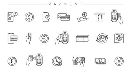 Payment concept line style vector icons set