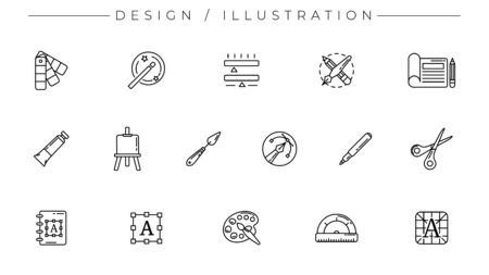 Design and Illustration concept line style vector icons set