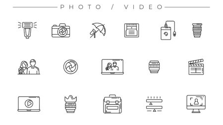 Photo and Video icons. Line style vector set