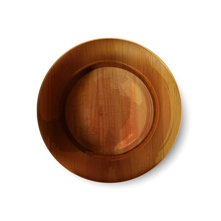 Empty wooden plate with scratches on a white background. Top view. Realistic vector illustration.
