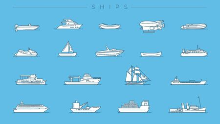 Set of Ships icons is one of the modern line icons sets on the theme of Transport. Stock Illustratie