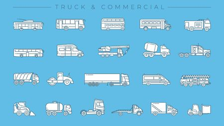 Set of Truck and Commercial icons is one of the modern line icons sets on the theme of Transport.