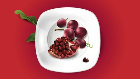 Composition of pomegranate and red grapes for your presentation. Realistic vector illustration.