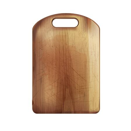 Wooden cutting board on a white background.
