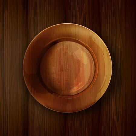 Empty wooden plate on a wooden table. Illusztráció
