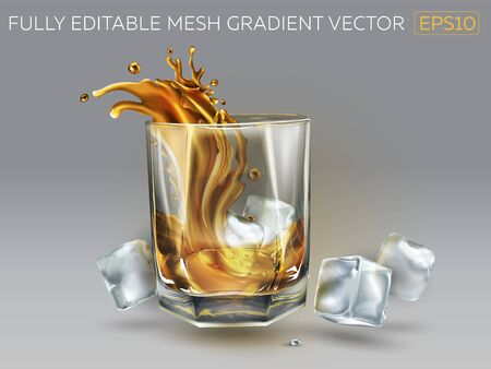 Composition of a glass of whiskey and ice cubes. Realistic vector illustration.