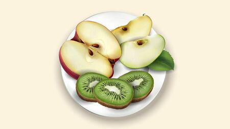Sliced kiwi, red and green apple on a white plate.