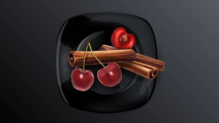Cherry berries and cinnamon sticks on a black plate.