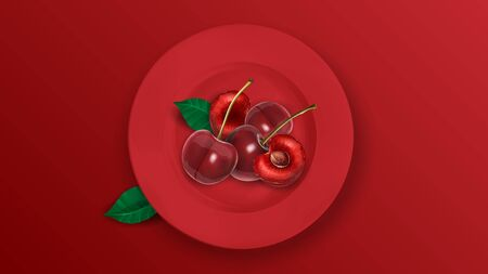 On a dark red background, a plate with delicious juicy cherries. Realistic vector illustration. Ilustracja