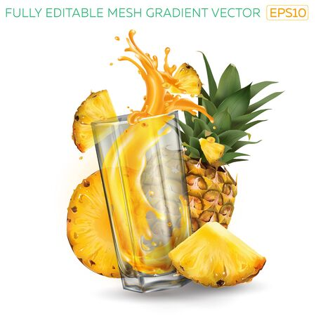Pineapples and splashing juice in a glass on a white background.