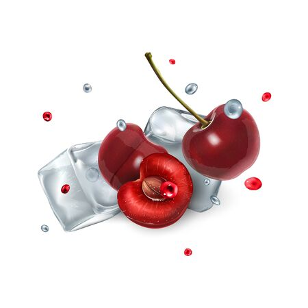 Cherry berries with ice cubes and droplets of water and juice
