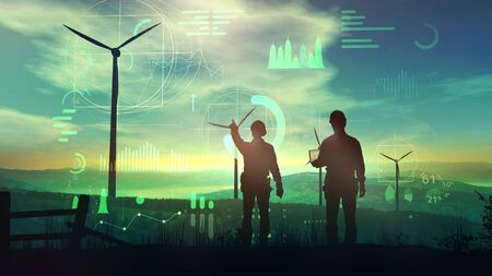Engineers are watching over the work of wind turbines and virtual data.