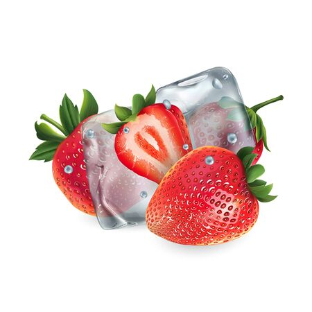 Fresh strawberries with ice cubes and water droplets