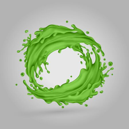 Green juice splashes circle on a gray background