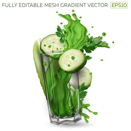 Cucumber slices, celery leaves and splash of green juice in a glass Çizim