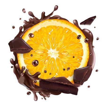 Slice of orange with chocolate pieces and splashes. 向量圖像