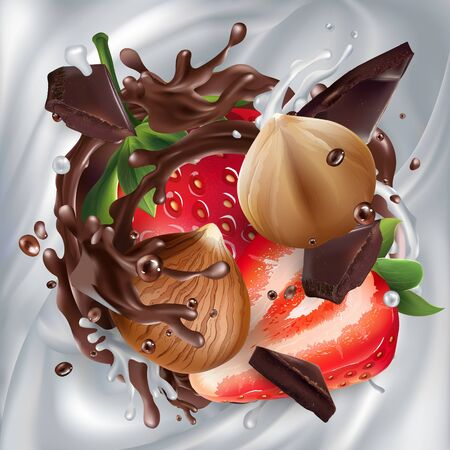 Hazelnuts with strawberries and chocolate on a milk background.