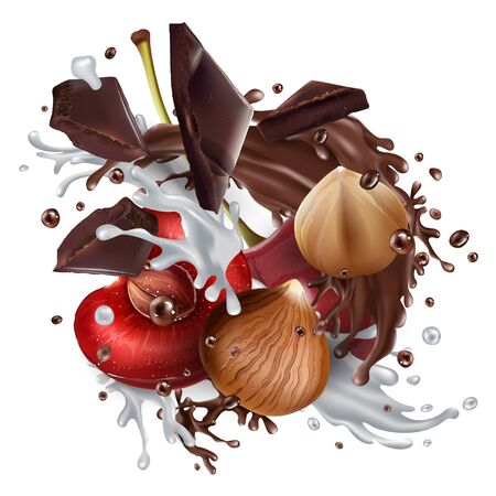 Hazelnuts and cherries with chocolate and milk.