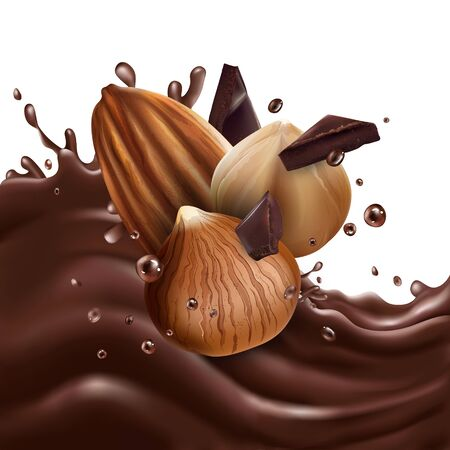 Almonds and hazelnuts with chocolate pieces on a chocolate wave.
