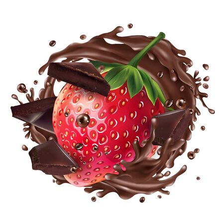 Strawberry with chocolate pieces and a splash of chocolate. 向量圖像