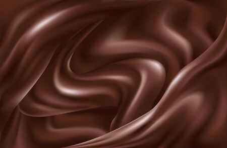 Liquid chocolate dynamic background of swirling waves. Realistic vector illustration. 向量圖像