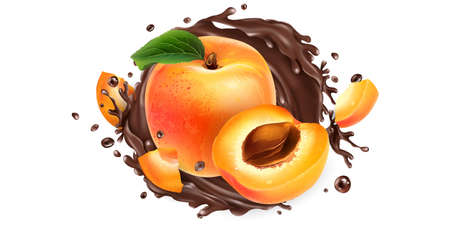 Whole and sliced apricots in a chocolate splash.