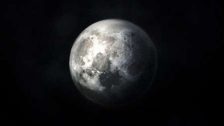 Realistic dark gray image of the moon in space.