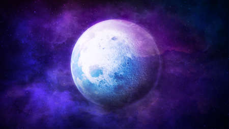 A brightly lit moon against a backdrop of fantastic space. Zdjęcie Seryjne