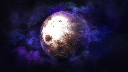 Fantastic view of the moon surrounded by nebulae.
