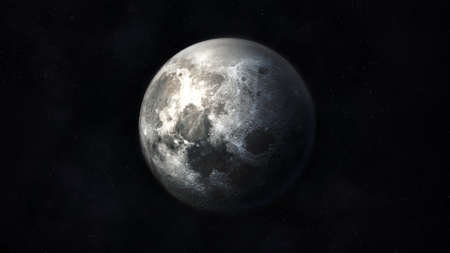 Dark gray realistic image of the moon in space.