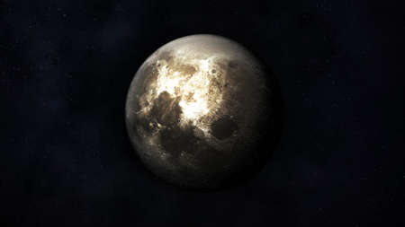 Realistic image of the moon in outer space.