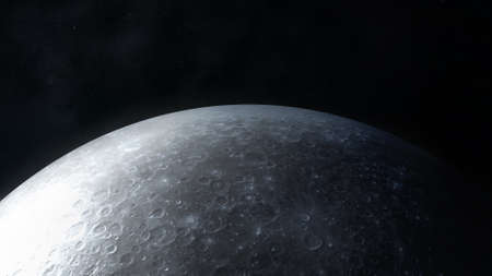 Dark gray image of the moon surface close-up.