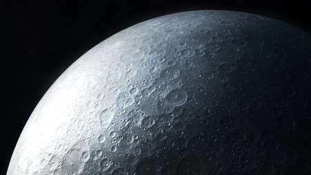 Realistic dark gray image of the moon surface close-up.