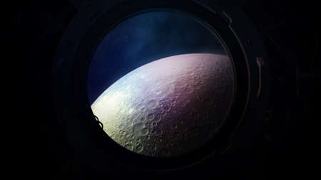 The surface of the moon from the porthole of a spaceship.