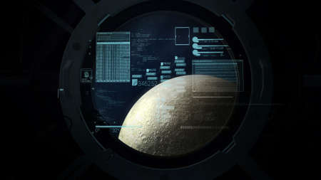 Flight calculations on the background of the moon in the porthole. Reklamní fotografie