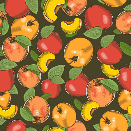 Colored seamless pattern with apples and peaches in vintage style