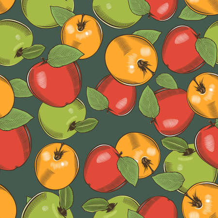 Seamless pattern with apples of different colors in vintage style
