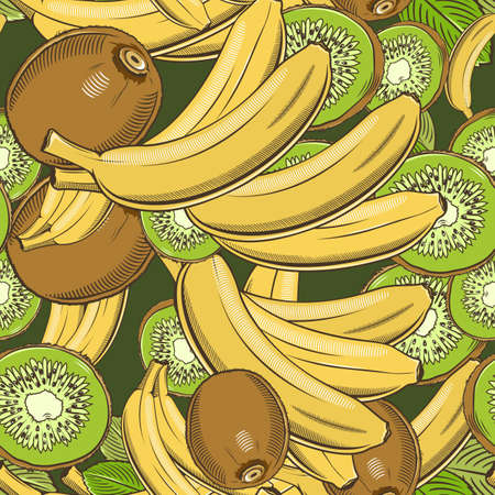 Colored seamless pattern with bananas and kiwi in vintage style