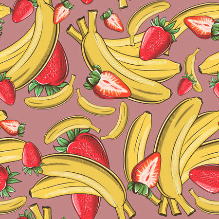 Colored seamless pattern with bananas and strawberries in vintage style Ilustrace
