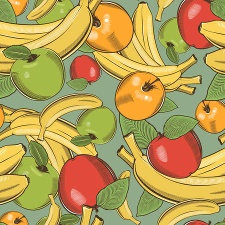 Colored seamless pattern with bananas and apples in vintage style Ilustrace