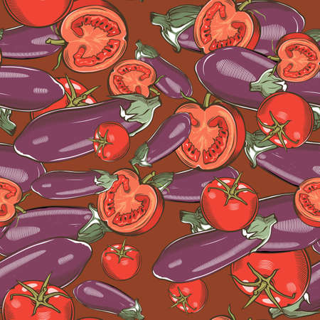 Colored seamless pattern with eggplants and tomatoes in vintage style